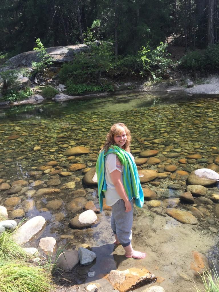 Daar sta je dan in het water bij Yosemite NP